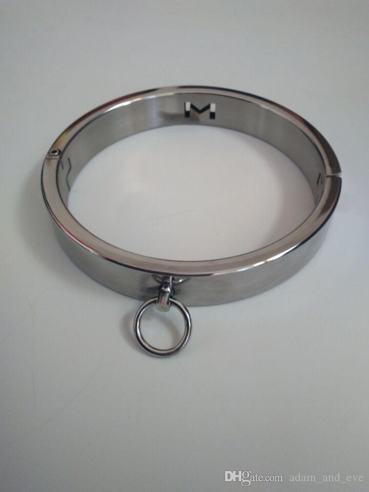 Verriegeln Edelstahl BDSM Bondage Gerät Eisenkragen Dicker Spiegel Polierter Sex Keuschheit Luxus Für Paare WJGDX