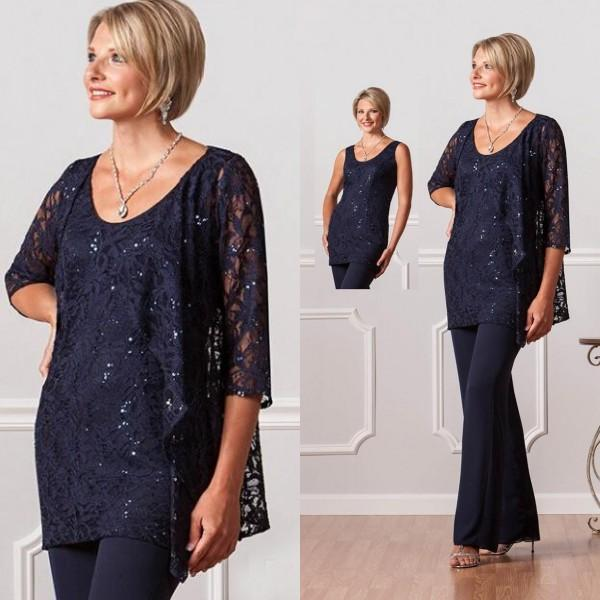 Romantic Dark Navy Plus Size Mother Of The Bride Pants Suits Lace Jacket Women Chiffon Mother Formal Wear Half Sleeve for Wedding