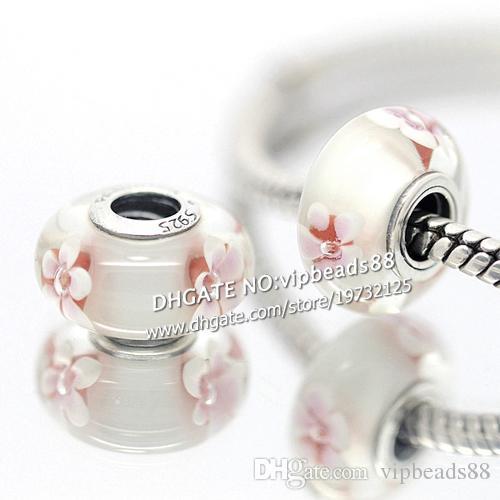S925 gioielli in argento sterling fiori di ciliegio perline di vetro di murano adatto europeo fai da te pandora braccialetti di fascino collana 165