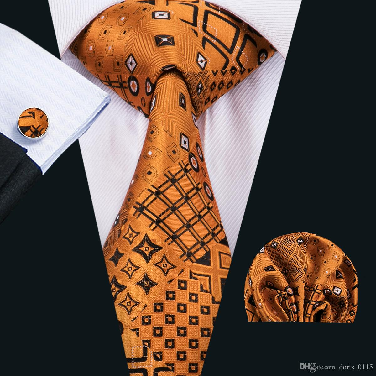 أزياء الرجال التعادل classci الحرير رجل الرقبة العلاقات الذهب التعادل مجموعات التعادل المنديل cufflinks مجموعات الجاكار المنسوجة اجتماع الأعمال حفل زفاف هدية N-1517