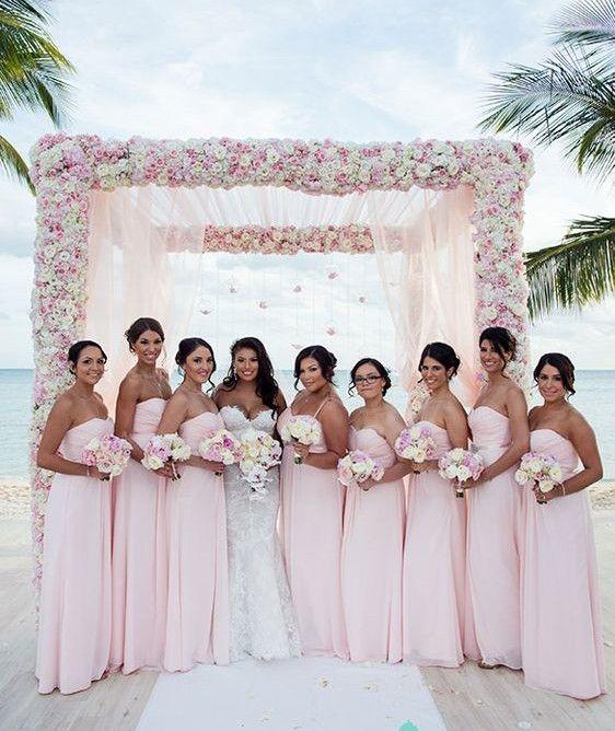 2016 Summer Beach Bridesmaid Dresses Matching Strapless Flowy ...