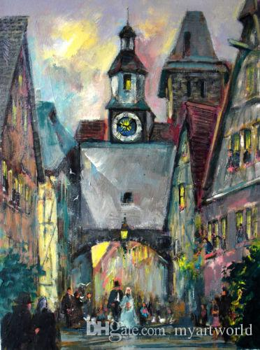 Röderbogen, Markus Torre Rotenburg ob der viste sulla città, dipinto a mano pura arte astratta pittura a olio su dimensioni Canvas.any misura accettato