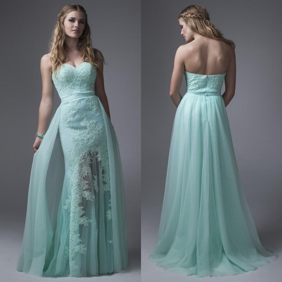 Mint Green Lace Appliqued Prom Dresses Over Skirt Strapless 2017 ...