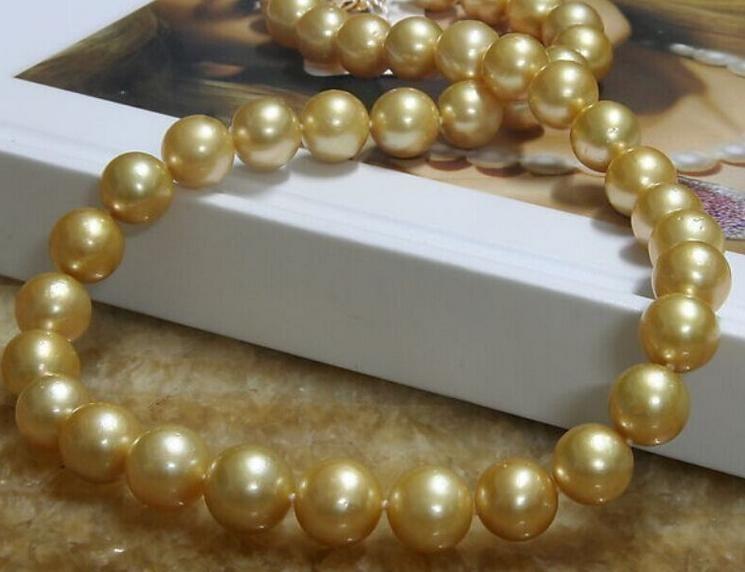 Muhteşem 9-10mm doğal güney denizleri altın inci kolye 14 k altın toka