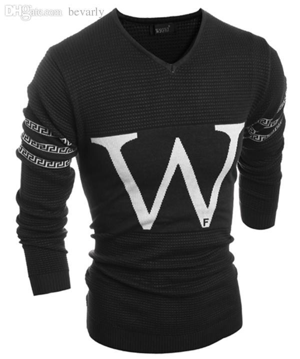 """Оптовая продажа-новое прибытие мужская свитер модный бренд тянуть Homme письмо"""" w """" дизайн V-образным вырезом с длинным рукавом свитера мужчины повседневная пуловеры M-xxl H9024"""