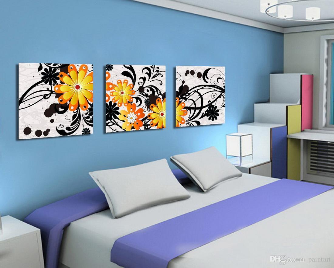 Morden Flores Abstrata Pintura Floral Reprodução Impressão Na Lona Decoração Da Parede Home Set30026