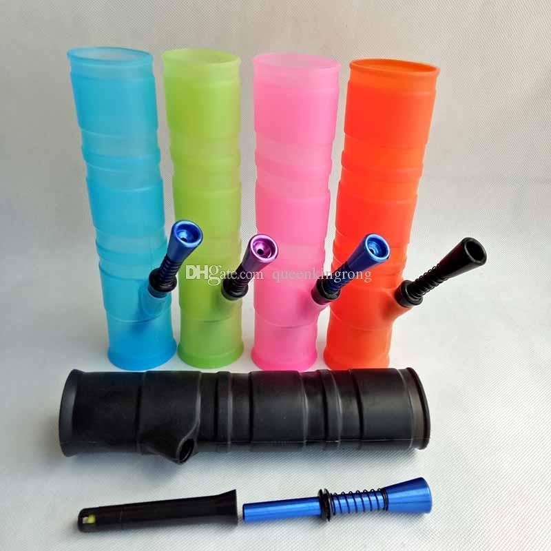 Portable narghilè acqua in silicone per fumatori lavaggio Herb Unbreakable Acqua Percolator Bong Olio Concentrato in legno metallo tubo di plastica
