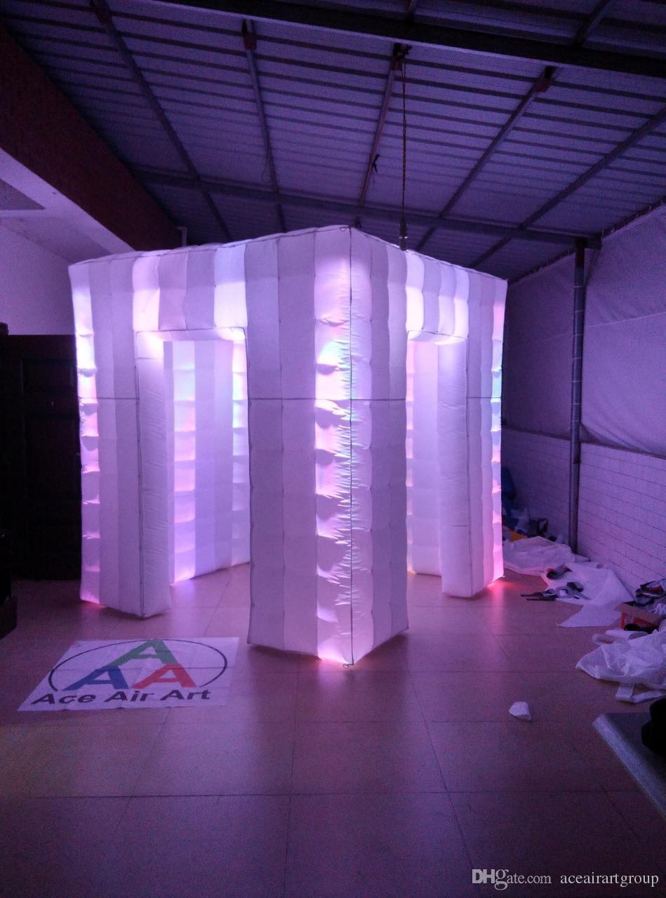 Venda quente de alta qualidade 16 colorido mudando DJ inflável photo booth inflagtable weding cabine com ventilador de ar livre