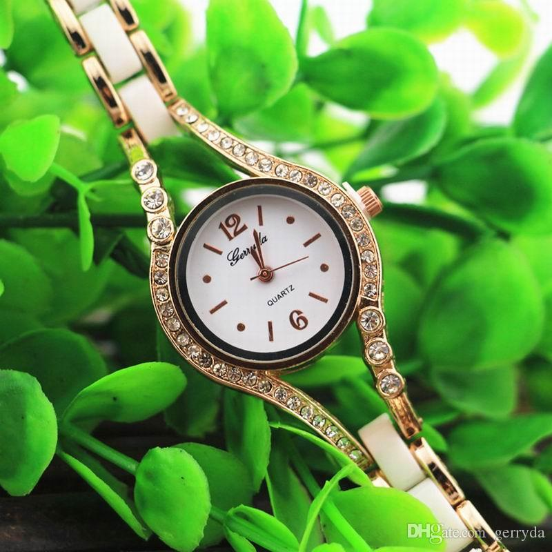 Free shipping!gold plate alloy case with crystal deco,copy ceramic band,quartz movement,gerryda fashion woman lady bracelet ceramic watches
