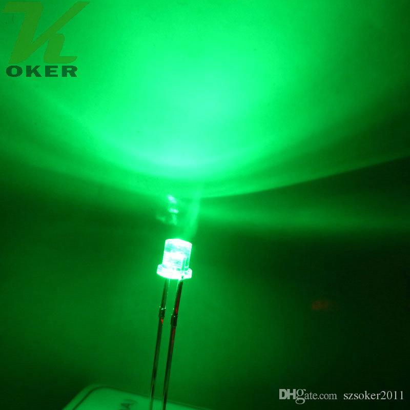 1000pcs 3mm Green Flat top LED Light Lampada led Diodi 3mm Flat Top Ultra Bright Wide Angle LEDs Spedizione gratuita