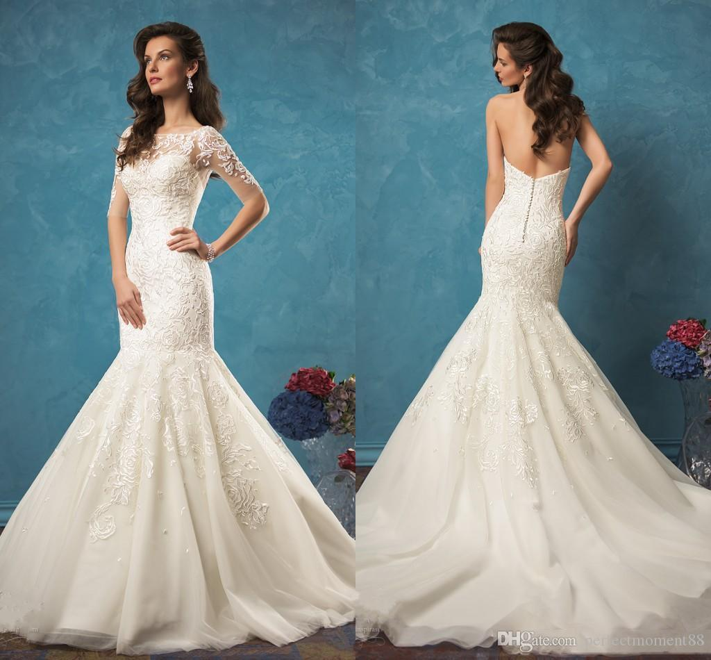 2017 Amelia Sposa Ivory Lace Mermaid Wedding Dresses Sweetheart ...