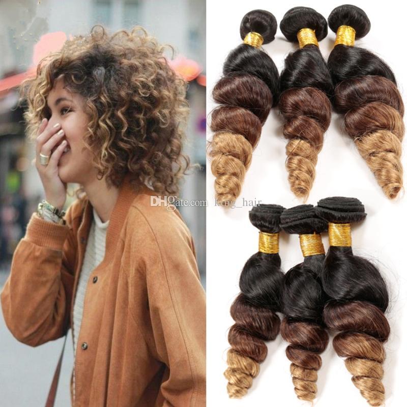 Ombre Extension De Cheveux Lâche Vague # 1B 4 27 Faisceaux De Cheveux Brésiliens Vierge Cheveux Humains 3 Tone Hair Weaves Ombre Extensions De Cheveux