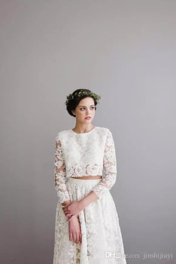 Lace wedding dress short front long back hair