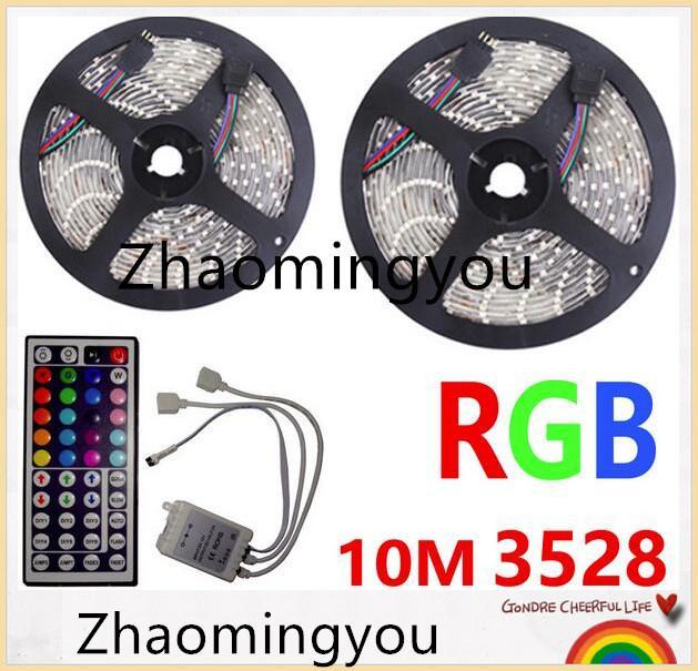 YON 10M LED 스트립 3528 RGB 유연한 빛 방수 DC 12V 300LEDs 44 키 IR 원격 컨트롤러 키트