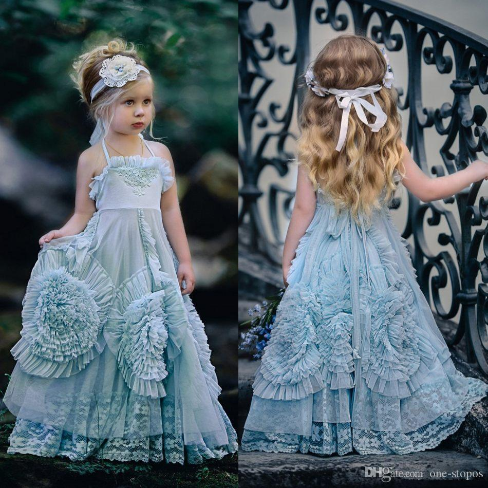 Vintage Flower Girl Wedding Dresses Halter Princess Kids Birthday Party Gowns Unique Design 3D Hand Made Flowers Lace Girls Pageant Dress