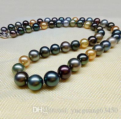 Классическая Природная 9-10мм южного море многоцветных жемчужного ожерелья 18inch 925 серебряной Застежка