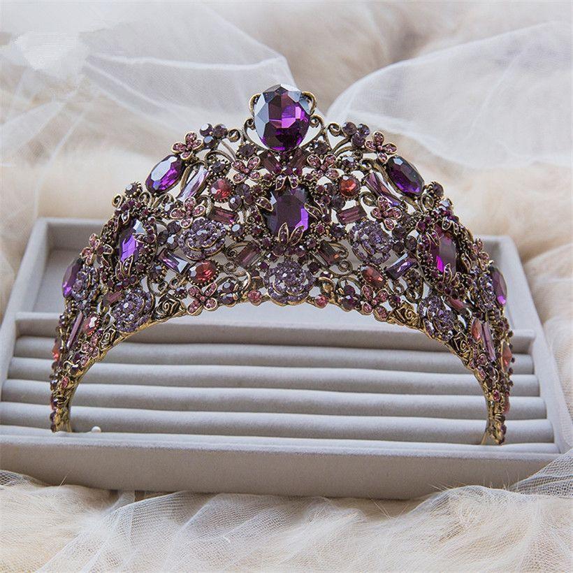 Vintage Wedding Bridal Women Purple Crown Tall Pageant Queen Tiara Large Huge Hair Accessories Silver Crystal