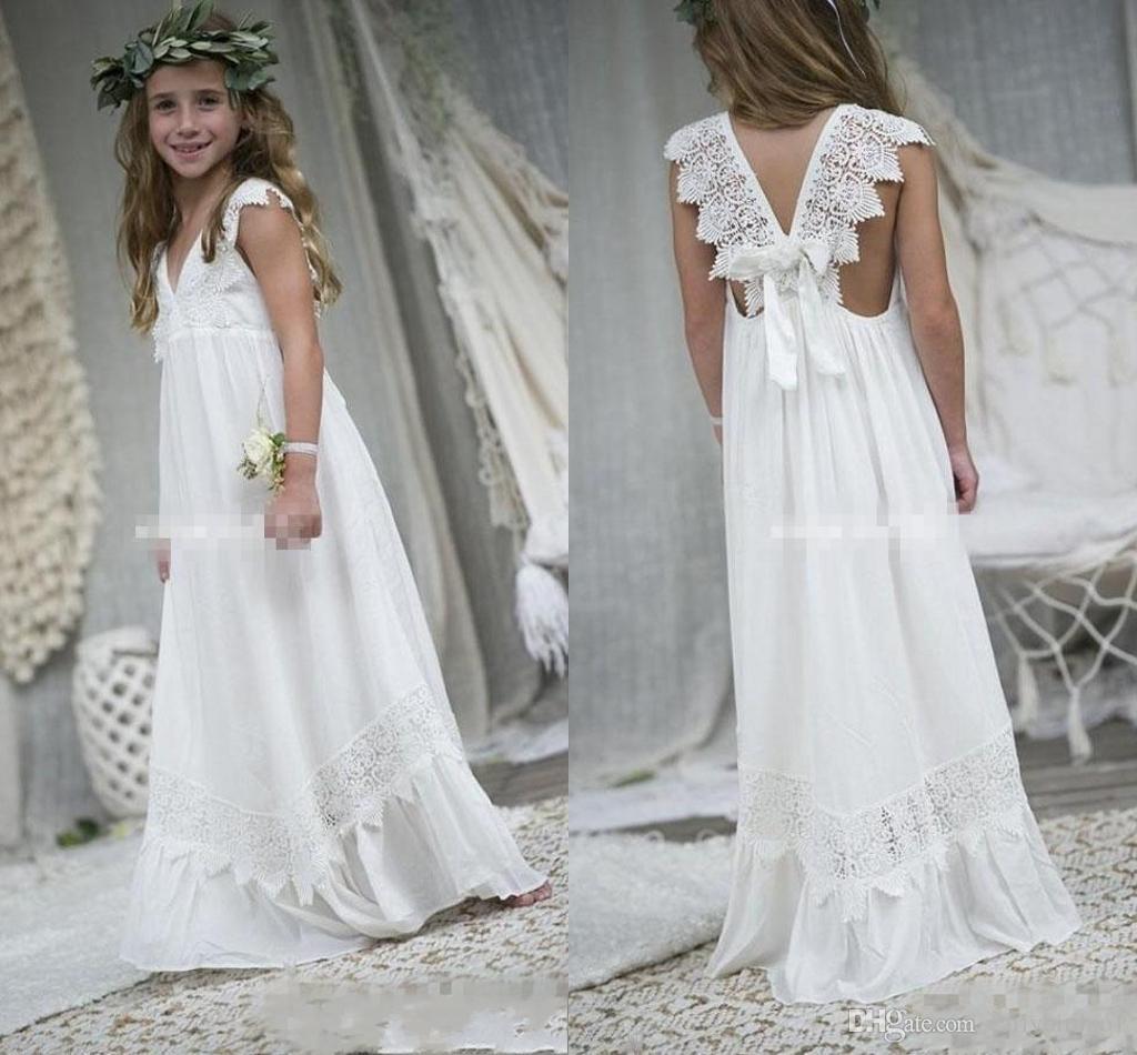 2019 New Arrival Boho Vestidos menina para casamentos baratos V Neck Chiffon Lace Criança Comunhão formal do casamento Beach Dress Custom Made