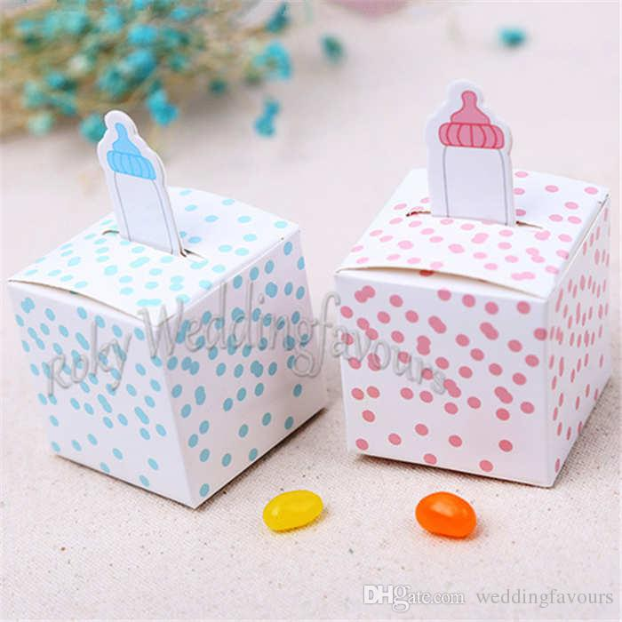 "Free Shipping! 50PCS 2.5"" Pink/Blue Baby Bottle Favor Boxes Baby Shower Party Supplies Birthday Party Candy Box Decor Setting Ideas"