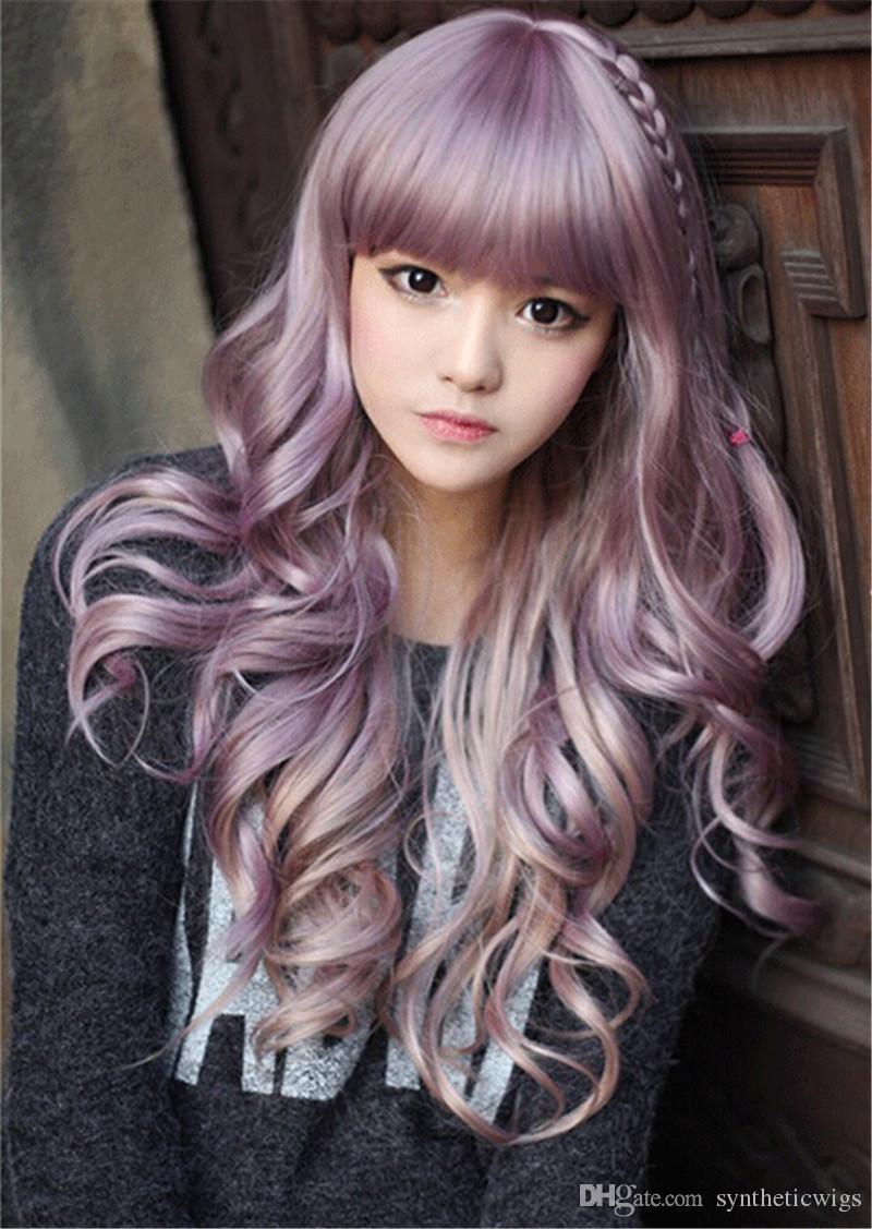 WoodFestival longo encaracolado peruca roxa ondulado perucas resistência ao calor cabelo sintético encantador completo bangs trança cosplay peruca mulheres