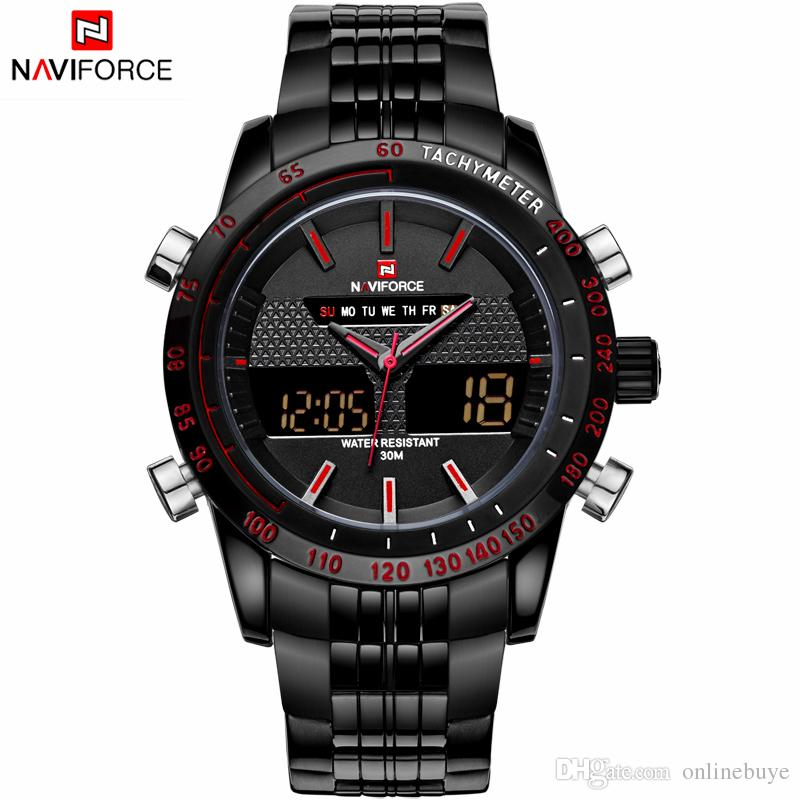 NAVIFORCE Fashion Men Watches Full Steel Men's Quartz Hour Clock Analog Digital LED Watch Sports Military Wrist Watches Drop Shipping