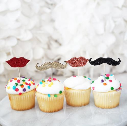 cheap custom 30pcs Glitter Mustache and Lips cupcake Toppers baby bridal shower girls birthday wedding Party Decoration supplies Event