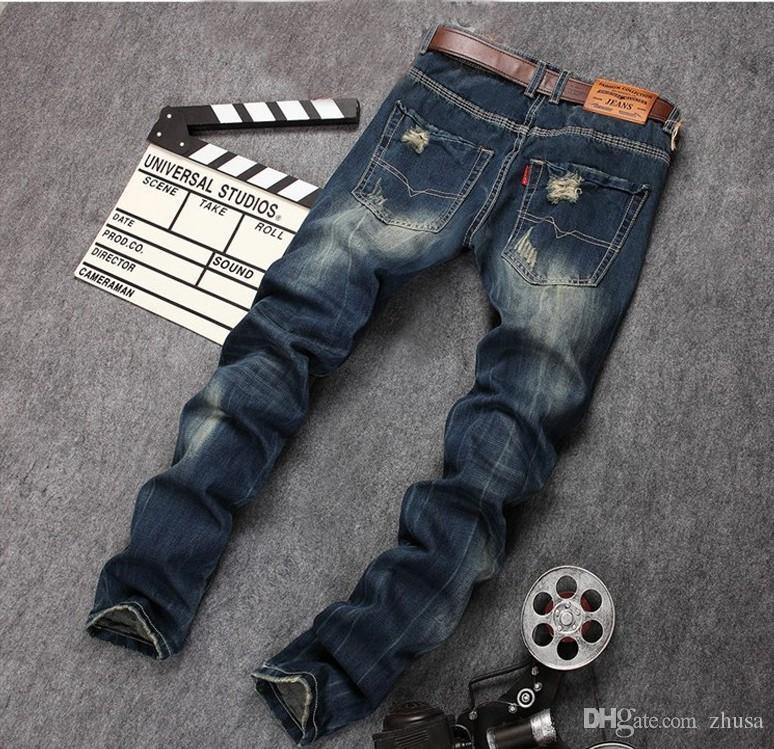 HOMBRE HOP HIP Знаменитый бренд разорвал мужские брюки мода разрушены рок-джинсы прибытия мужские джинсовые панталоны VAQUEROS 2021 DVQNC