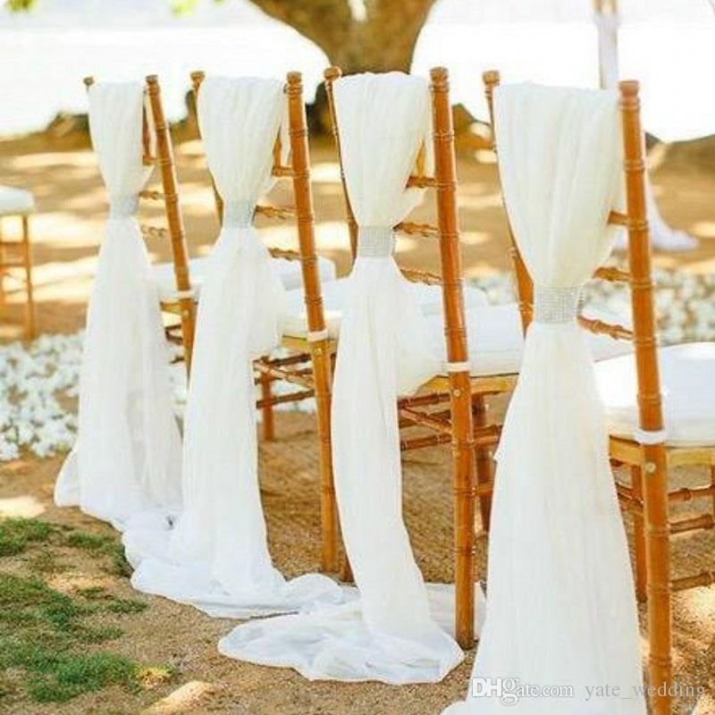 유행 흰색 상아 쉬폰 웨딩 의자 띠 활 사용자 지정의 자 커버 결혼식 DIY 웨딩 파티의 자 의자 장식 Clasps
