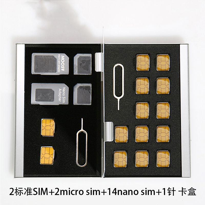 Wholesale Aluminum Memory Card Storage Case Box Holders Sliver for Micro Sim Card Nano Sim Card SD TF CF PSV Cards Protector Holder Case