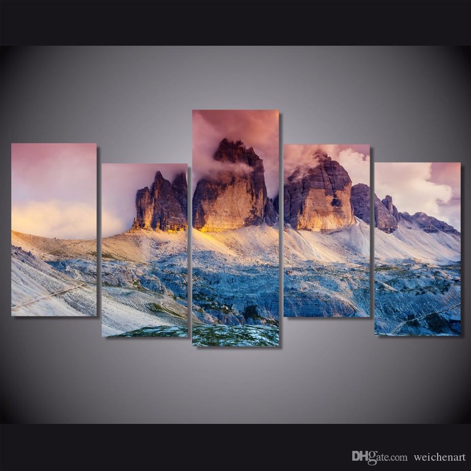 5 Paneli HD Baskılı Sis Avusturya Dağ Tuval Odası Dekor Poster Resim Tuval Duvar Boyama Baskı Baskı Boyama