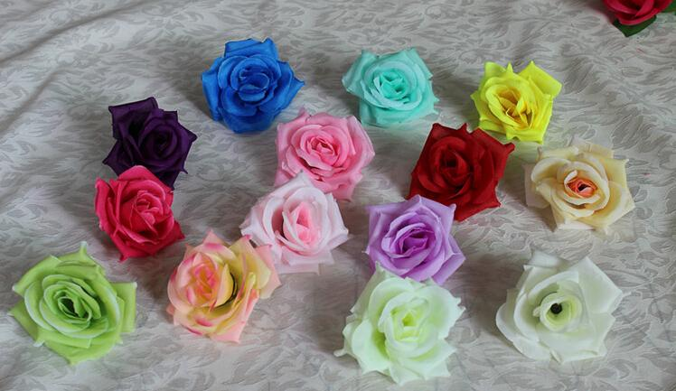 Tête de fleur de soie grosse rose fleurs artificielles fleurs artificielles broche décoration de mariage fleur 8,5 cm diamètre