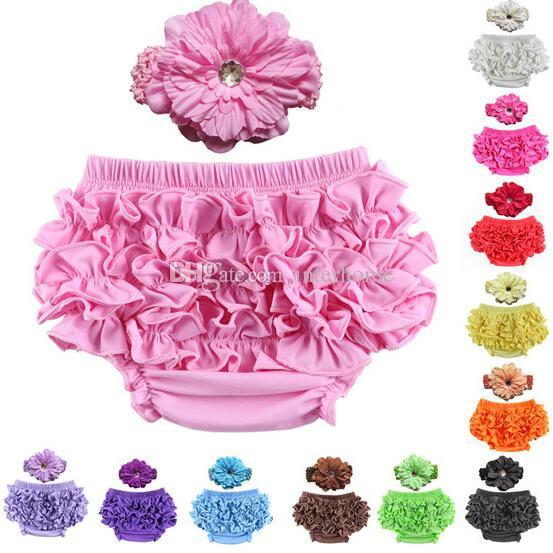 Baby Ruffle Bloomers Pant Satin Nappy Cover With Headband Infant Lace PP Pants Toddler Kids Ruffled Cotton Underwear Bloomers 12 Color C5
