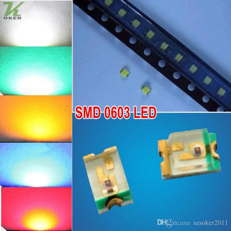 1000 PCS / lot SMD 0603 weiße rote blaue grüne gelbe LED-Lampen-Dioden ultra helles 0603 SMD LED geben Verschiffen frei