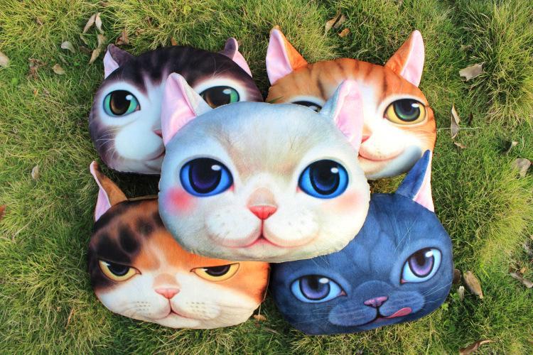 Forma Silla de playa colchón almohada Sr. maullido del gato Impresión Digital 3D Asiento coche de la personalidad Cojín suave creativa del amortiguador lindo del asiento