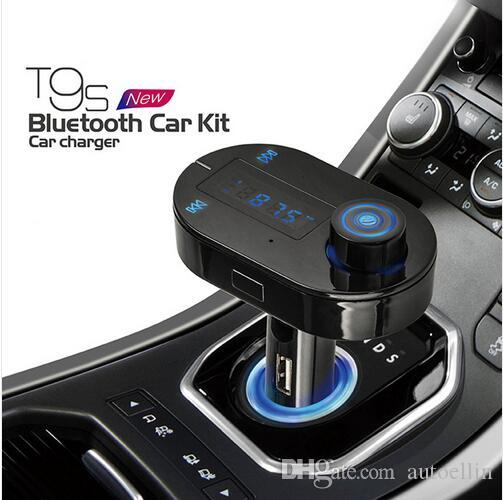 T9S Car Mp3 Player Wireless Bluetooth Fm Transmitter 3 Colors FM Modulator HandsFree Car Kit A2DP USB Charger for iPhone Samsung