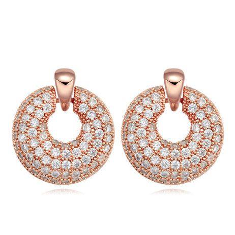 Earrings Jewelry Fashion Women Luxury High Quality Zircon 18K Gold Plated Geometric Circles Stud Earrings Wholesale Free Shipping TER063