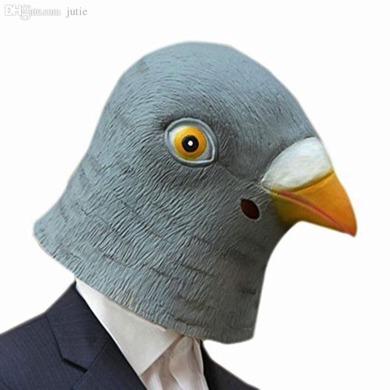 Wholesale-Creepy Pigeon Head Mask Latex Prop Animal Cosplay Costume Party Halloween Giant Bird Head Mask