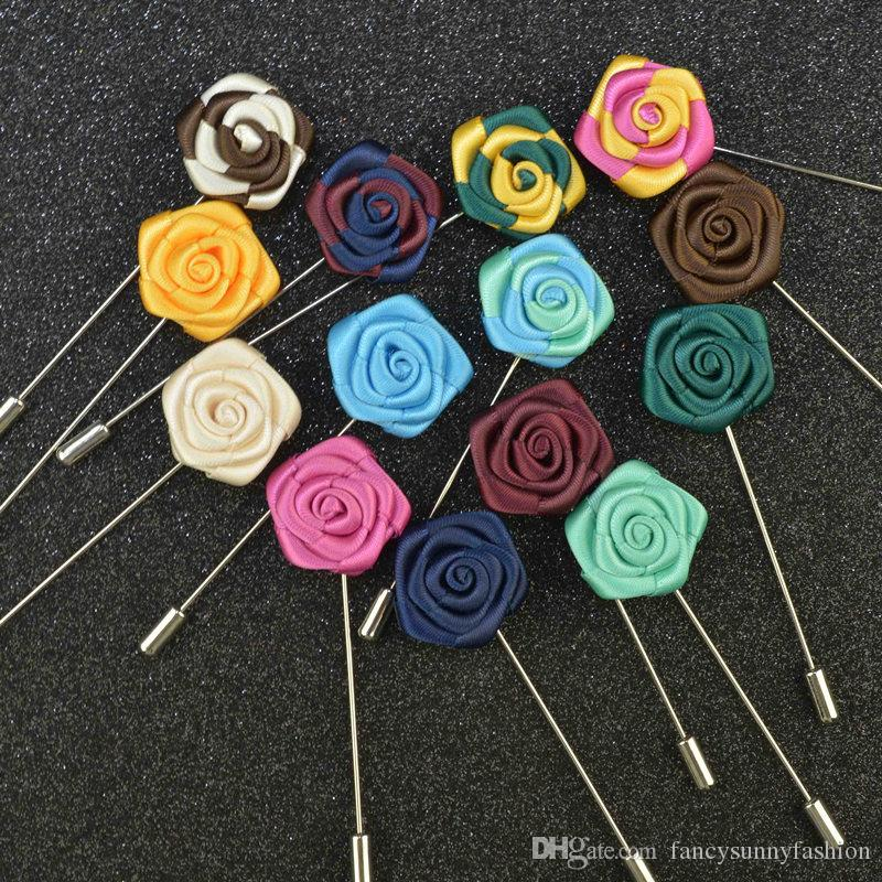 Price Cheap Fashion Flower Brooch lapel Pins handmade Boutonniere Stick with fabric flowers for Gentleman suit wear Men Accessories