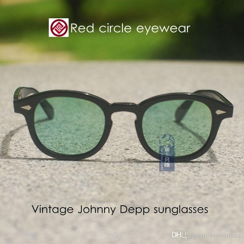 Retro Vintage Johnny Depp sunglasses black frame pale green lenses mens glass