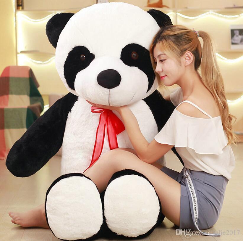 80/100 cm Bonito grande panda brinquedos de pelúcia recheado de pelúcia PP animais de Algodão boneca panda boneca presente de aniversário