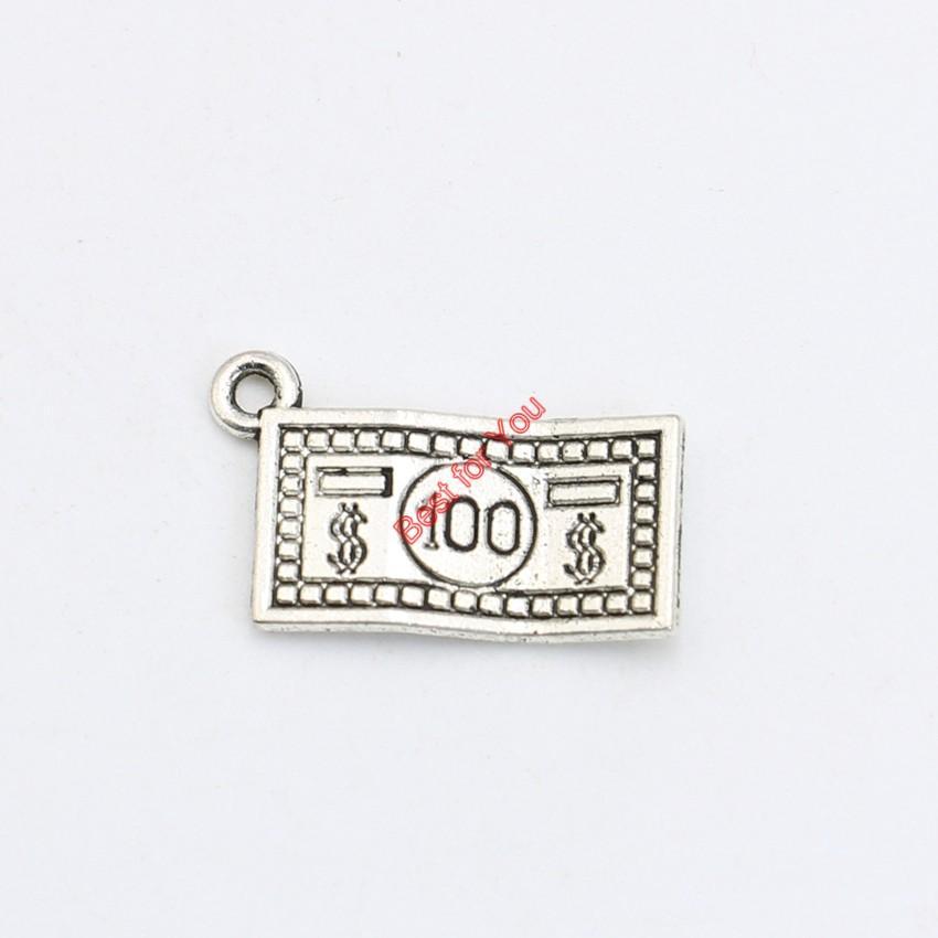 30pcs argento antico placcato denaro dollaro pendenti di fascini braccialetto collana creazione di gioielli accessori fai da te 21x13mm