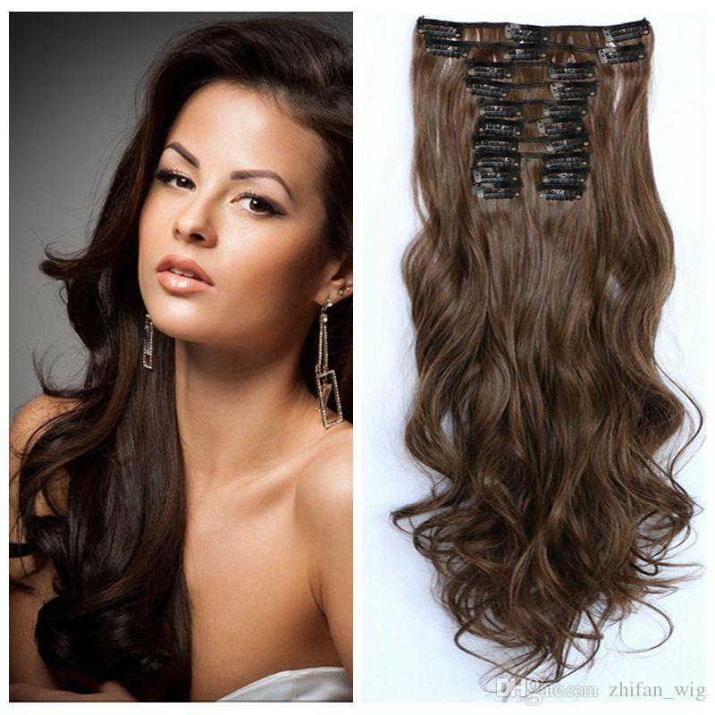 Z&F High Quality 6Colors 55CM Long Clip In Hair Extensions 150g Synthetic Hair Curly Thick 12 Piece/Set For Full Head