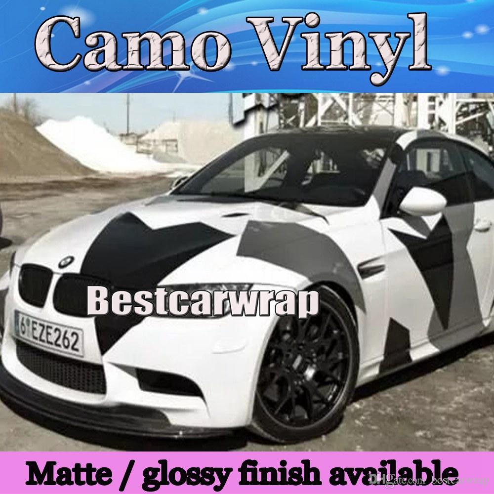 Gran blanco gris negro Pixel Camo Vinilo Car Wrap Styling con Air Rlease Gloss / Matt Ártico camuflaje que cubre las etiquetas del coche 1.52x30 m / Roll
