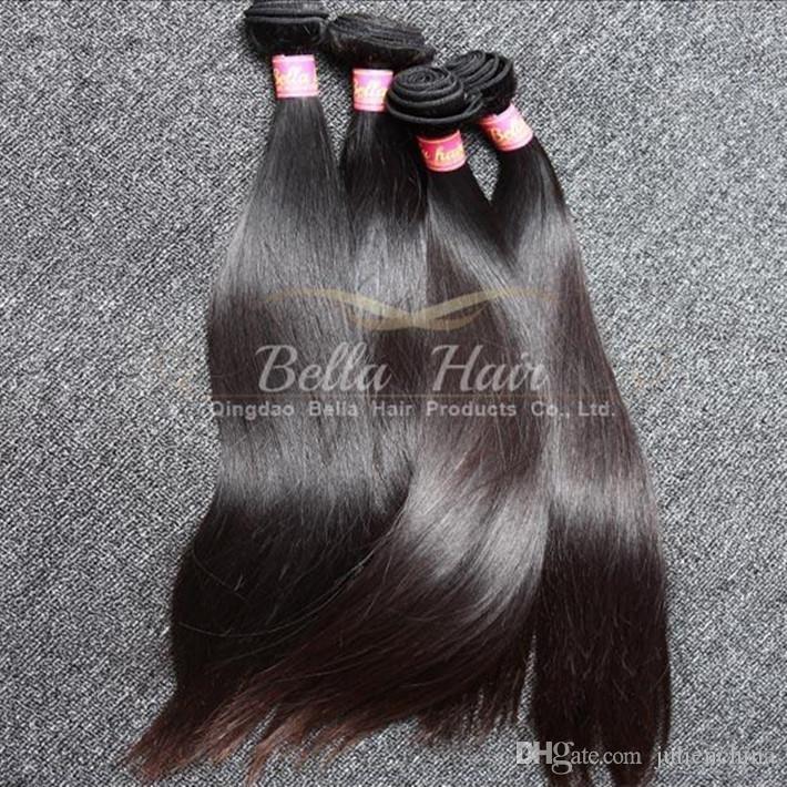 Mest populära mixlängd 10 ~ 24 tums malaysiska hårförlängningar 2st / lot Double Weft Natural Color 9a Rak hårbuntar Gratis frakt