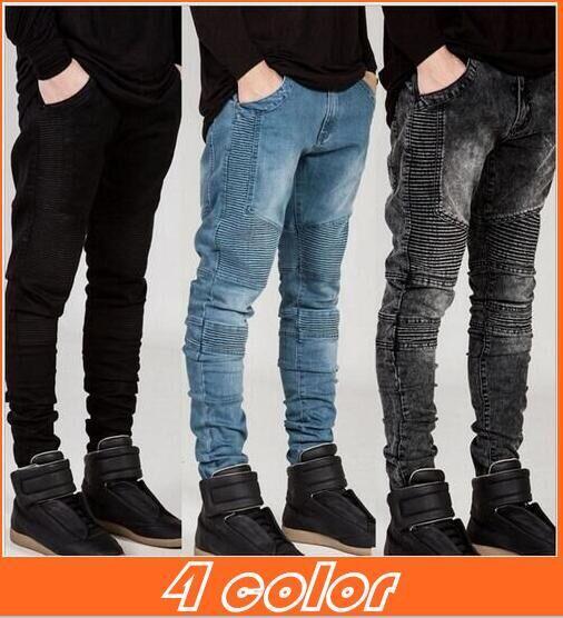 2017 Mens Skinny Jeans Men New Runway Distressed Slim Elastic ...