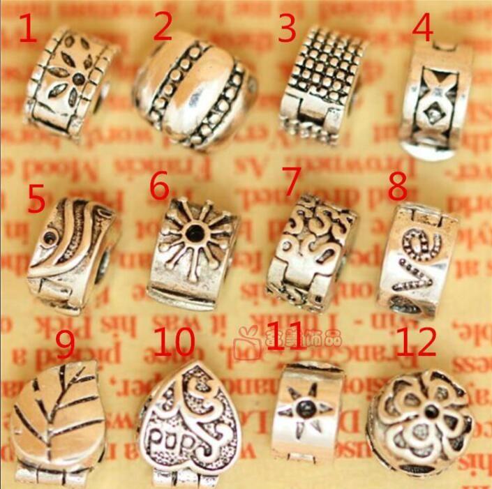 DIY tibetische Silber überzogene Stopperperlen passten Armbandhalskette Kette 240pcs / lot