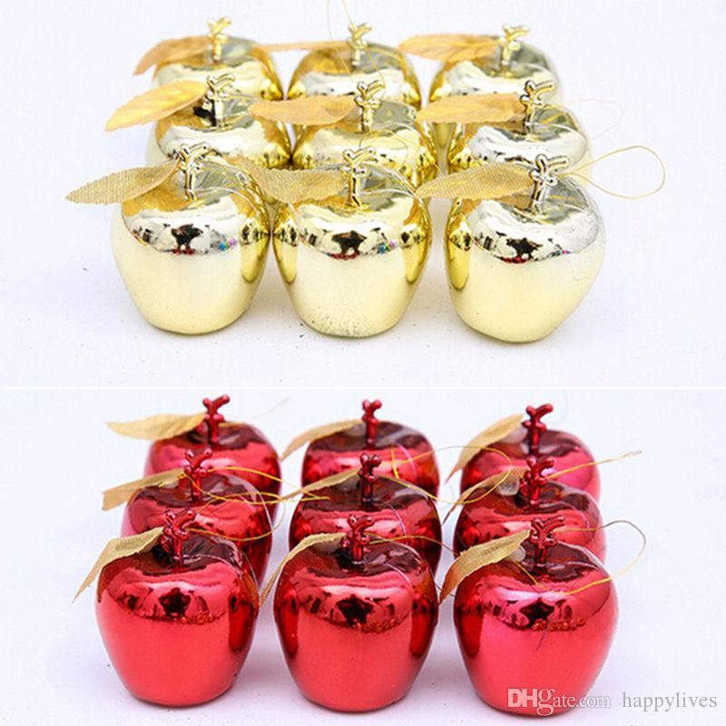 Christmas Decoration Christmas Tree Xmas Apple Decorations Baubles Party Wedding Ornament 12 Pcs 5cm Solid Gold Red Christmas Pendant