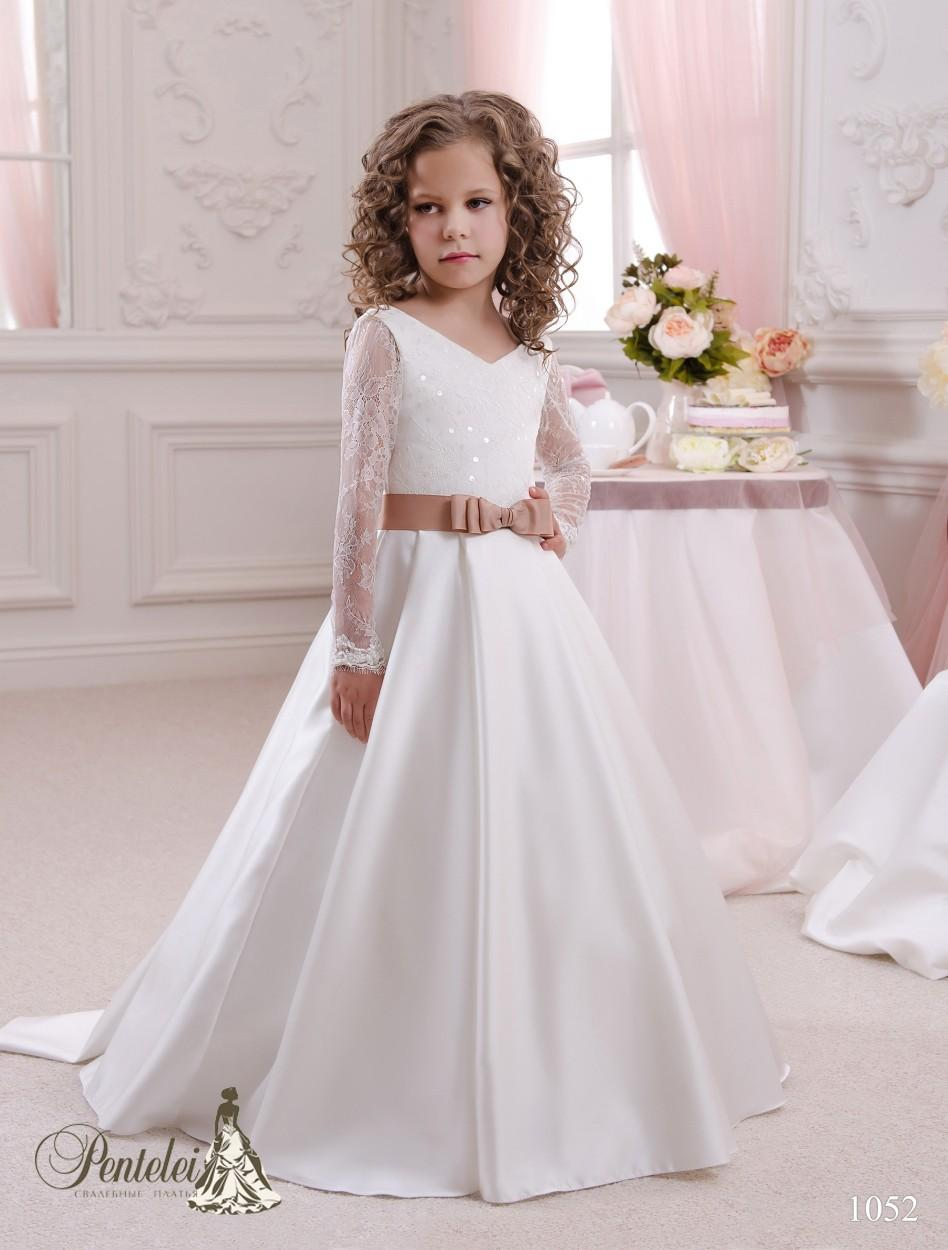 2016 Girls Dresses Special Occasion with Long Sleeves and V Neck White Satin Elegant Flower Girls Gowns with Coffee Sash Pentelei