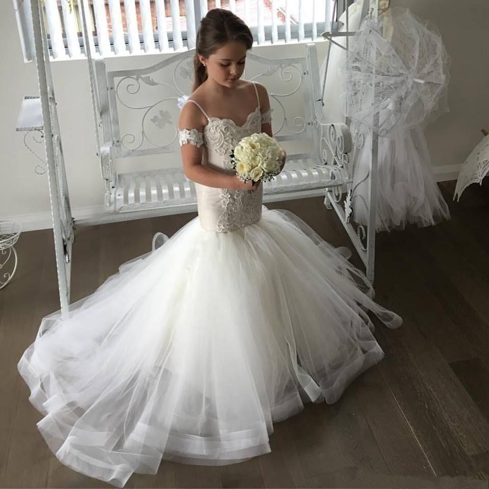 2017 Belle Sirène Tulle Fleur Fille Robes Spagetti Sangle Dentelle Bouton Enfants Pageant Robe Formelle Robe fille fleur Première Communion Robe