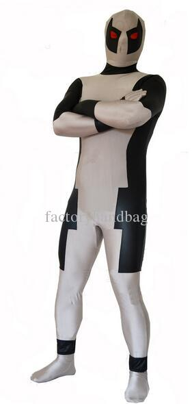 Deadpool Costume Lycra Spandex Zentai Full Body Suit Grey and Black Deadppol Cosplay Halloween Bodysuit